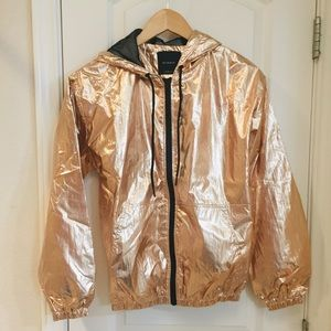 Elodie Gold Metallic Windbreaker Mesh Jacket XS